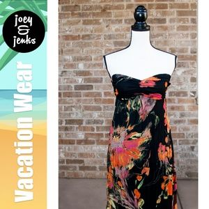 Fire Strapless Black & Red Floral Maxi Dress Small